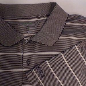 Izod Big Men's Brown Stripe Golf Polo Shirt